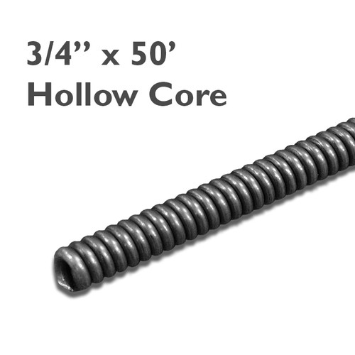 "3/4"" x 50' commercial hollow core sewer cable is great for clearing mainlines up to 10"" in diameter."
