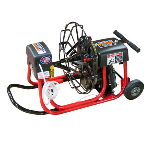 "DM10 SPA drain cleaning machine with 19"" open reel and 1/2"" x 75' drain cable for residential drain line cleaning"