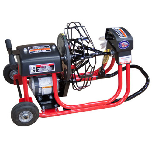 "DM10 SP drain cleaning machine with 16"" open metal reel which runs 3/8"" x 75' drain cables for residential drain lines sizes at 1-1/4"" - 4"""