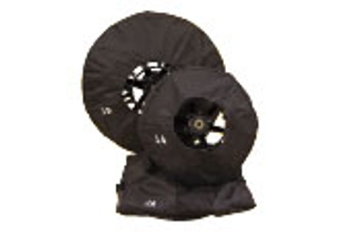 """Cover for 26"""" open metal reel to prevent water splatter while operating drain equipment."""