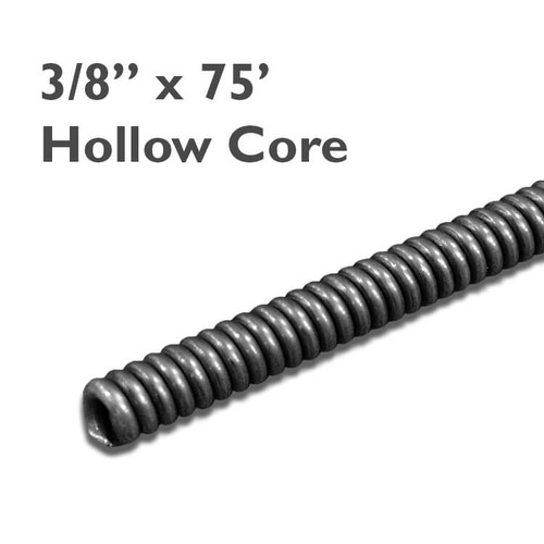 """3/8"""" x 75 hollow core drain snake for drains sized at 2"""" to 3"""" in diameter to clear clogs in residential drain lines."""