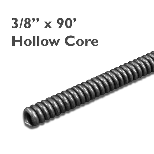 "3/8"" x 90 hollow core sewer snake for drains sized at 2"" to 3"" in diameter to clear clogs in residential drain lines."