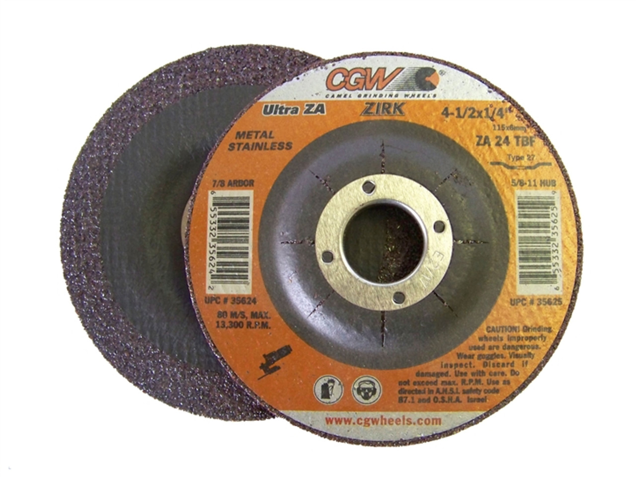 CGW Depressed Center Grinding Wheels (Type 27) -  Zirconia