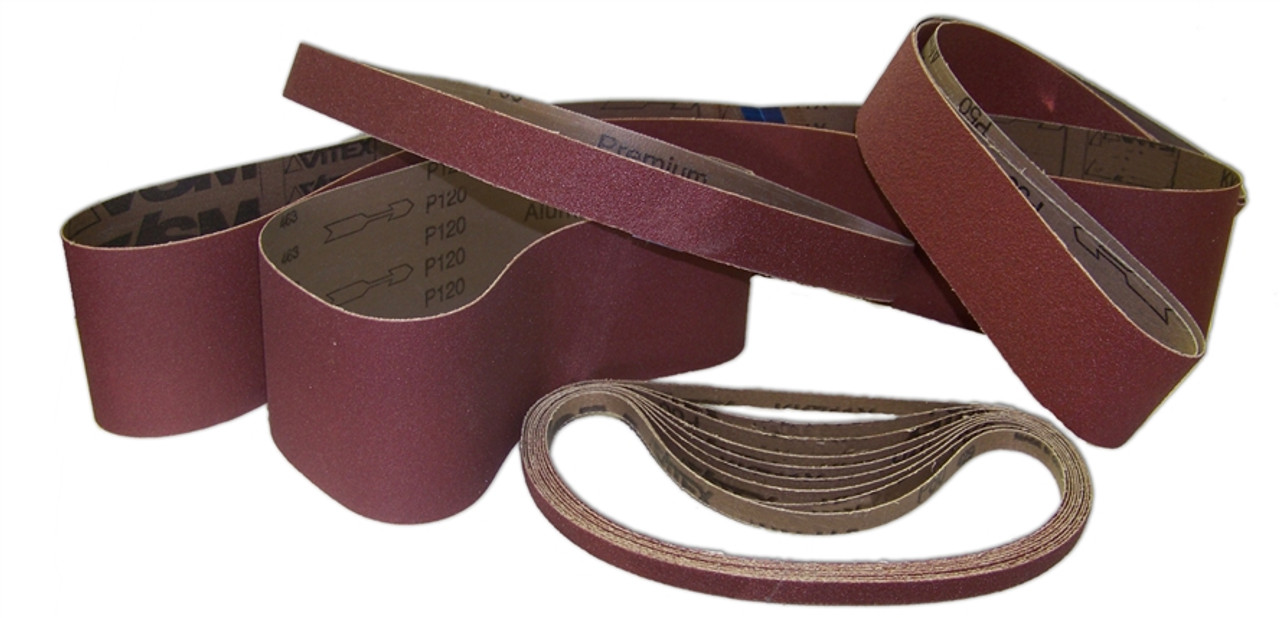 "Sparky Sanding Belts - Narrow - ALUMINUM OXIDE - 2"" to 3"" wide"