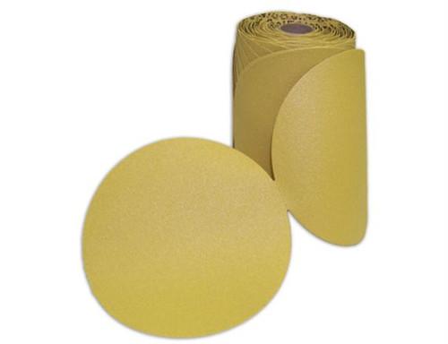 Global Abrasive Pressure Sensitive Disc (PSA Stick-on Gold Paper Disc Roll) Aluminum Oxide (100/roll)