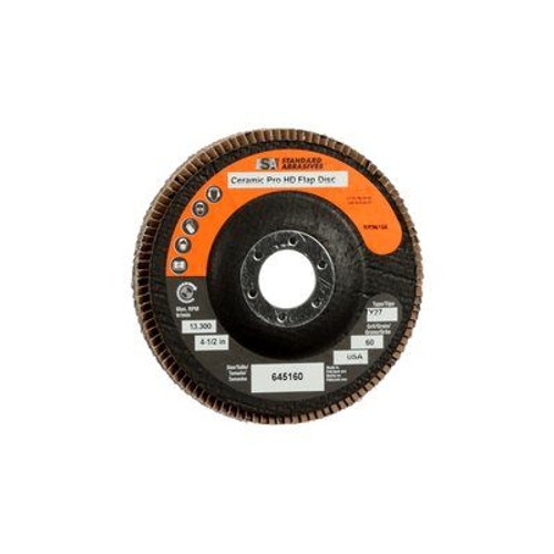 """4-1/2"""" x 7/8"""" Ceramic Pro T27 High Density Flap Disc, 40 Grit Y-weight (2 available)"""