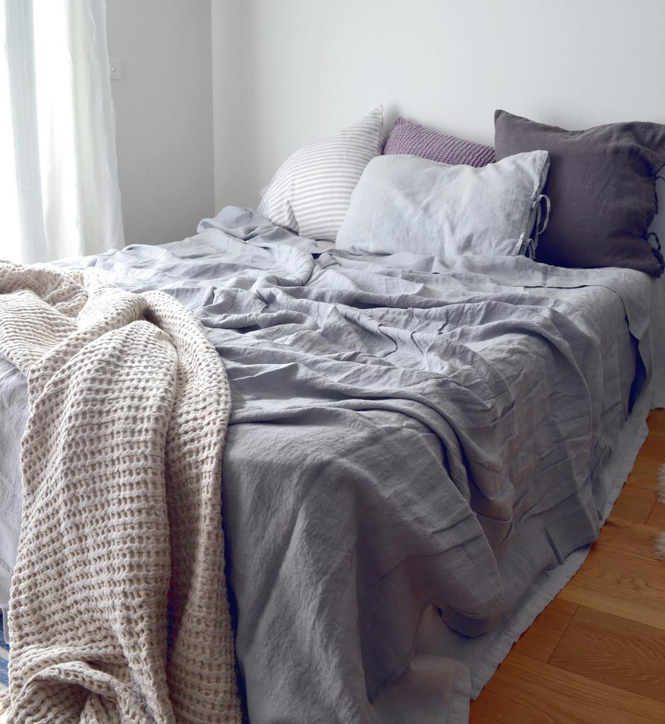 Light Grey stonewashed linen Top⎮Flat sheet
