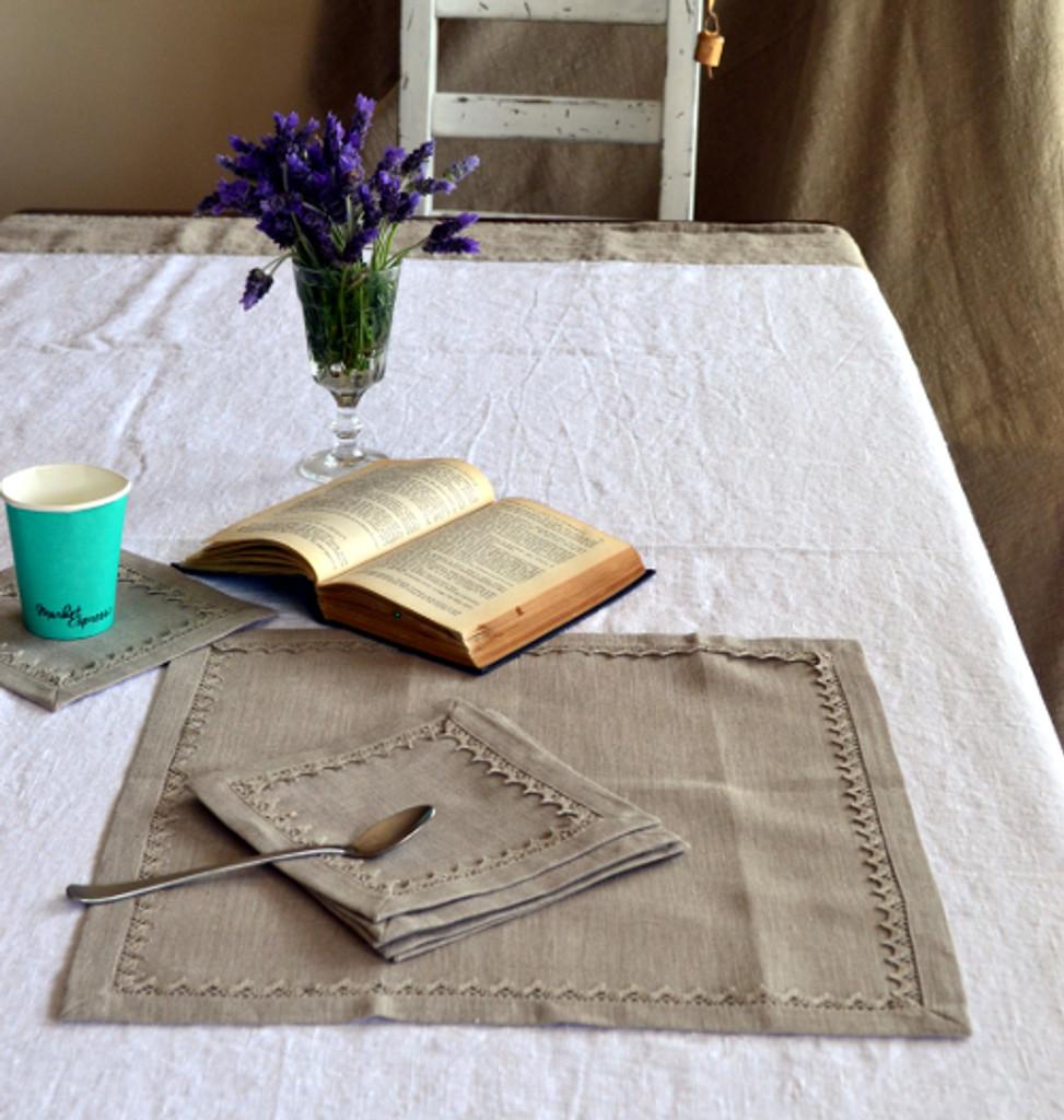 Set of 7 Ecru Linen Placemats with linen lace