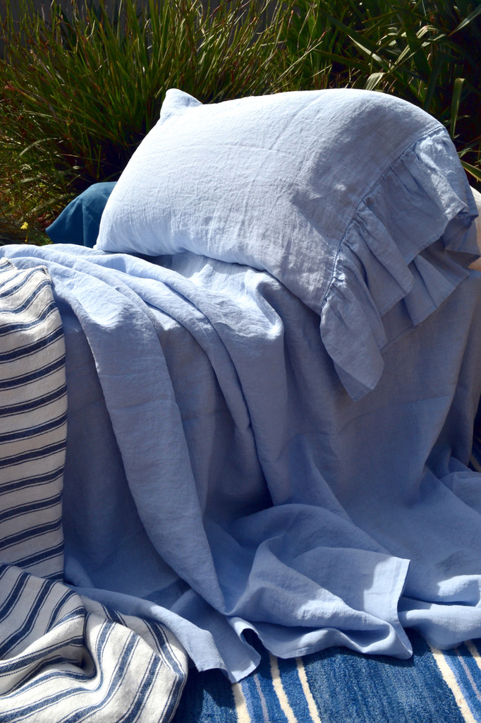 Sky Blue stonewashed linen Top⎮Flat sheet