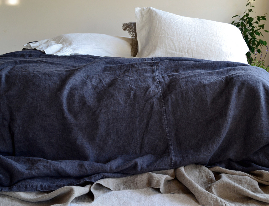 Peppercorn Dark Grey Heavy weight Rustic Linen Bed cover/Coverlet