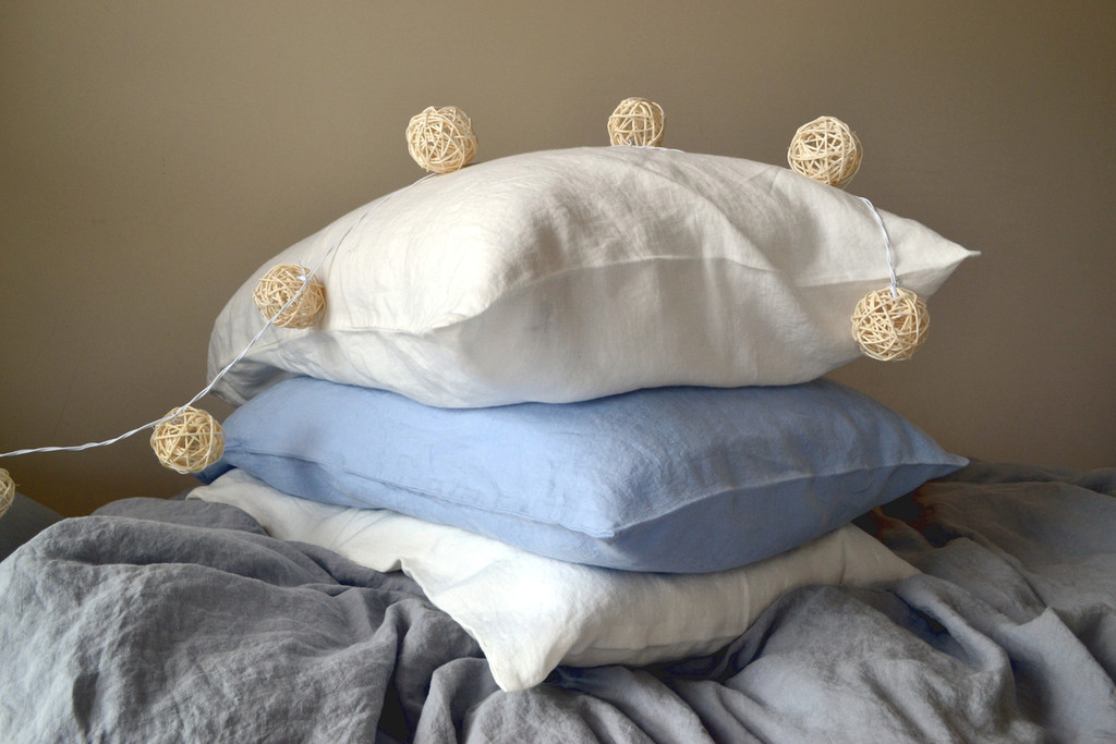White linen pillow case