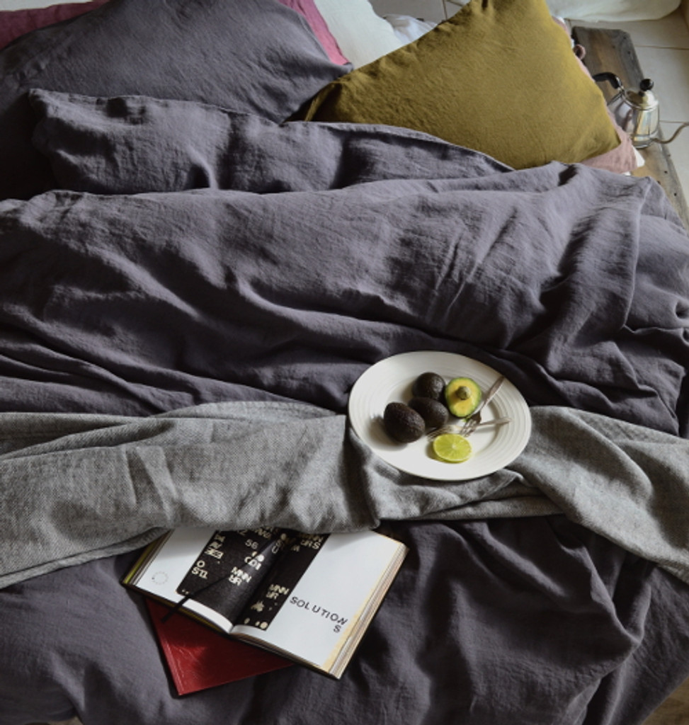 Charcoal Grey stonewashed linen duvet/quilt cover