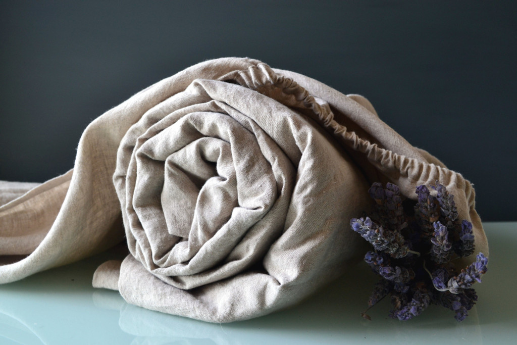 Natural (undyed) stonewashed linen fitted sheet. All sizes