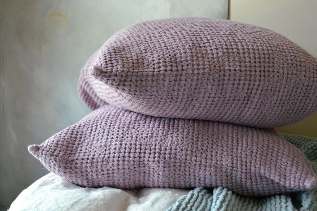 Lilac Waffle Linen Pillow Case. Super heavy weight linen