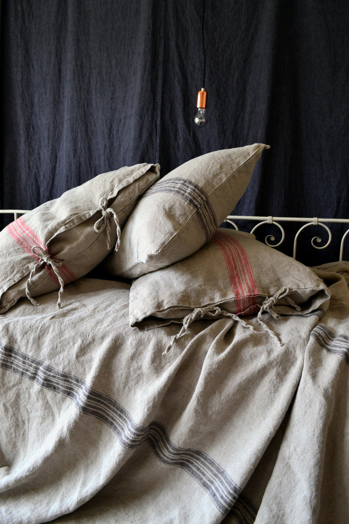 Grainsack Black Stripe Linen Pillowcase. All sizes