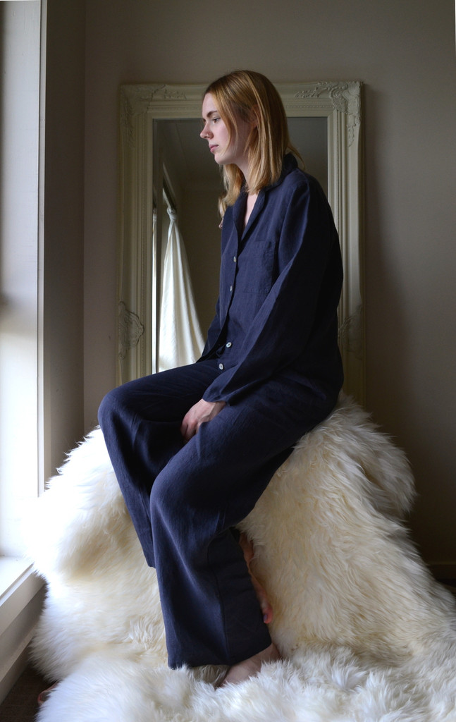 Midnight Blue stonewashed linen sleepwear. Pajama Set