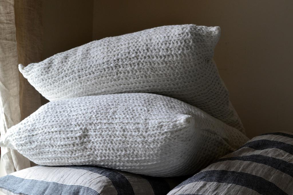 Ivory Waffle Linen Pillow Case. Super heavy weight linen