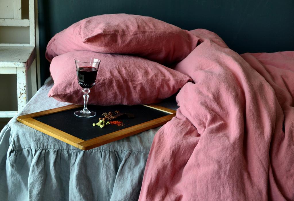 Marsala natural stonewashed linen bedding