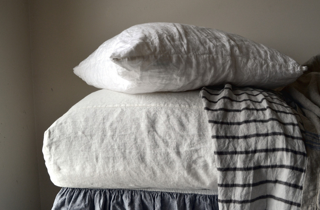 Ivory Heavy weight Rustic linen fitted sheet