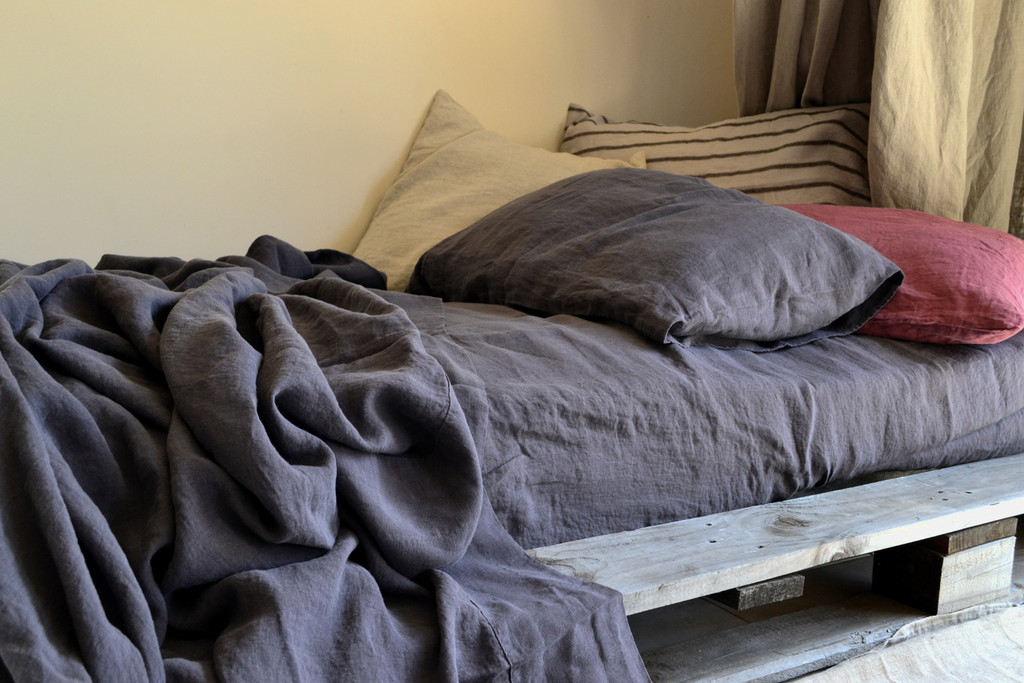 Charcoal Grey stonewashed linen fitted sheet