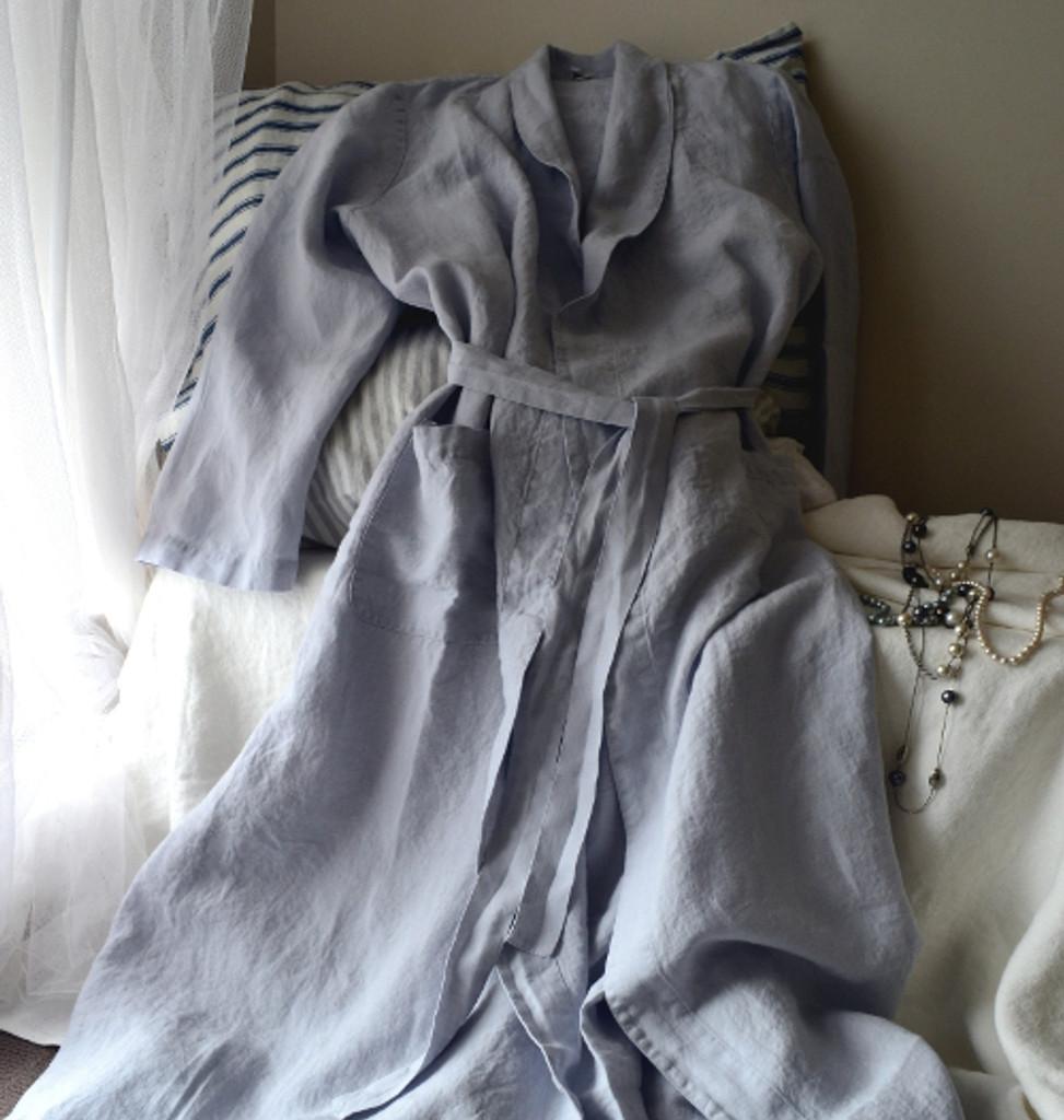 Silver Grey Stonewashed Linen Bath/Spa Robe. Limited Edition