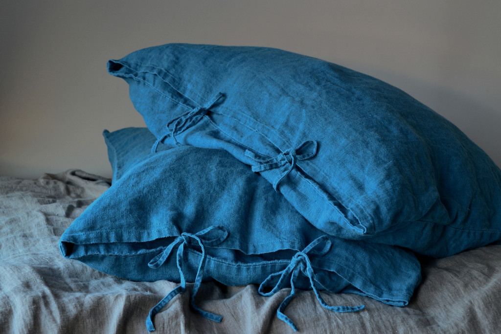 Teal Rustic Heavy weight  linen pillow case with ties