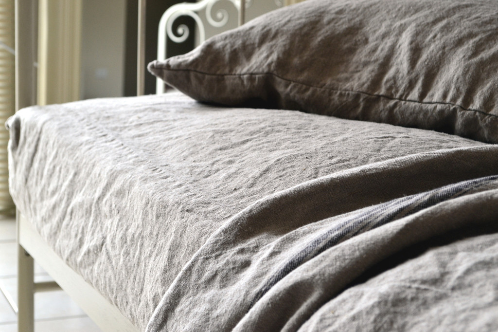Natural Heavy weight Rustic linen fitted sheet. Undyed linen
