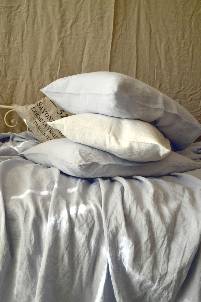 Silver Light Grey stonewashed linen pillow case