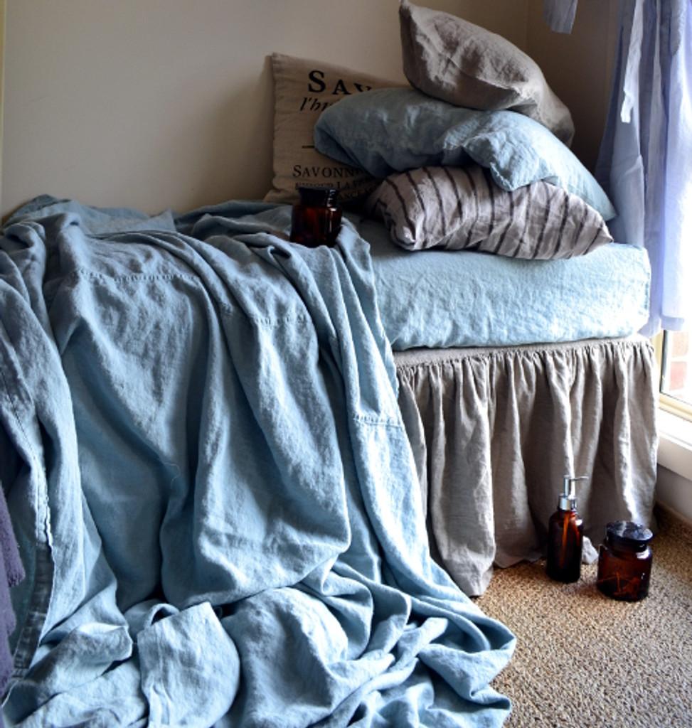 Duck Egg Blue Heavy Linen Coverlet/Throw Blanket/ Rustic Linen Sheet