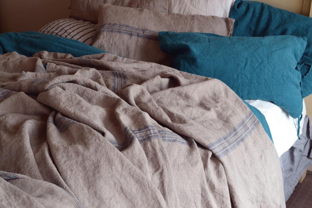 Grainsack Blue Stripe Heavy Linen Coverlet⎮Bed cover