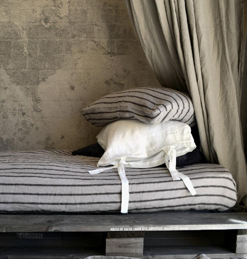 Vintage Black Ticking stonewashed linen fitted sheet