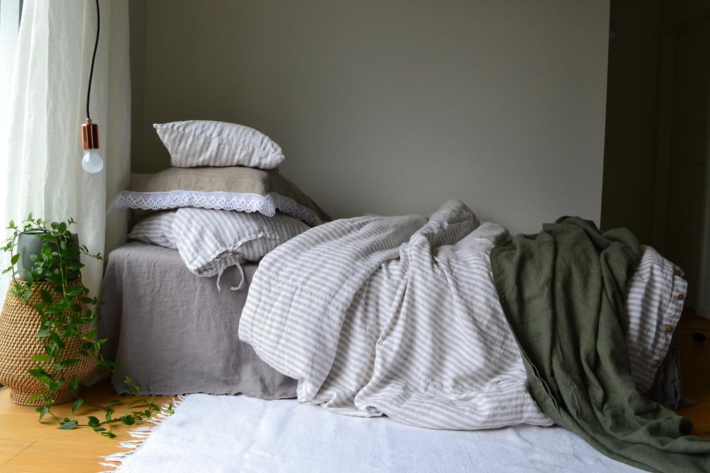 Rustic Ticking Stripe Heavy Weight Linen Duvet/ Quilt Cover