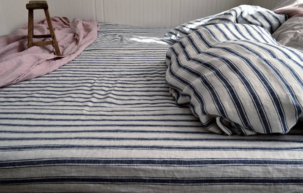 French Navy Ticking Heavy weight Rustic linen fitted sheet