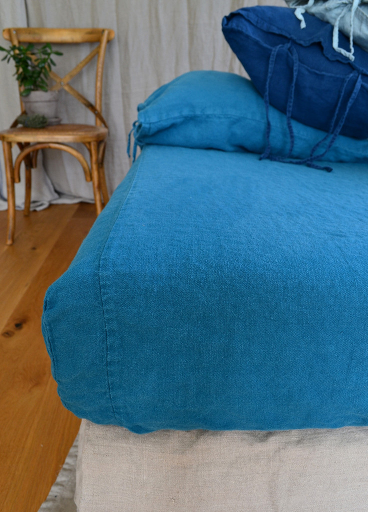 Teal Heavy weight Rustic linen fitted sheet