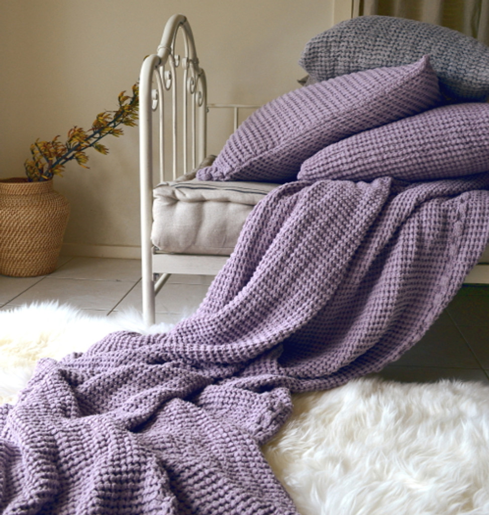 Waffle linen blanket, Lilac. Extra Heavy natural linen