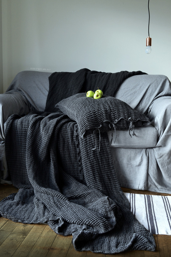 Peppercorn Dark Grey Waffle Linen Pillow Case. Super heavy weight linen