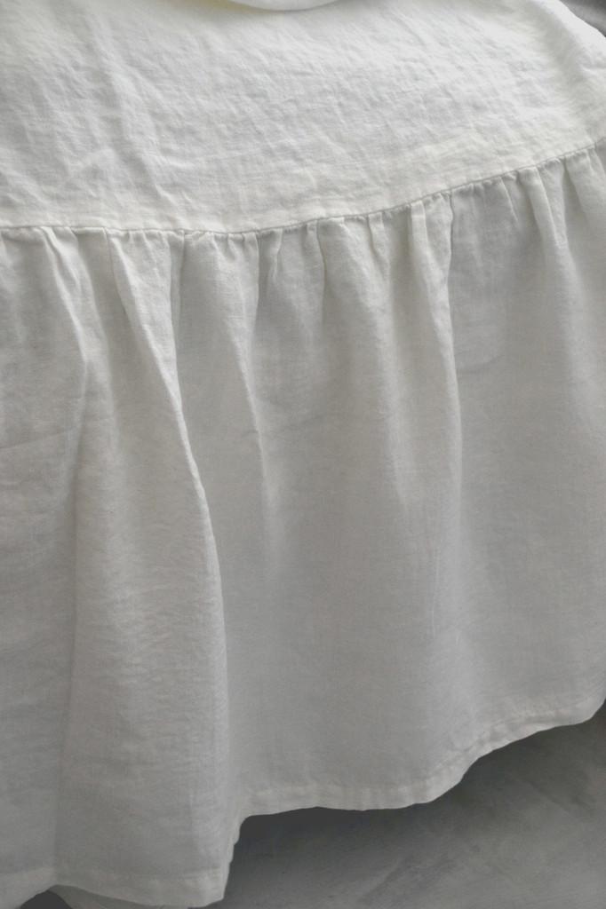 Pure Optical White Linen Ruffled Valance⎮Bedskirt⎮Dust Ruffle