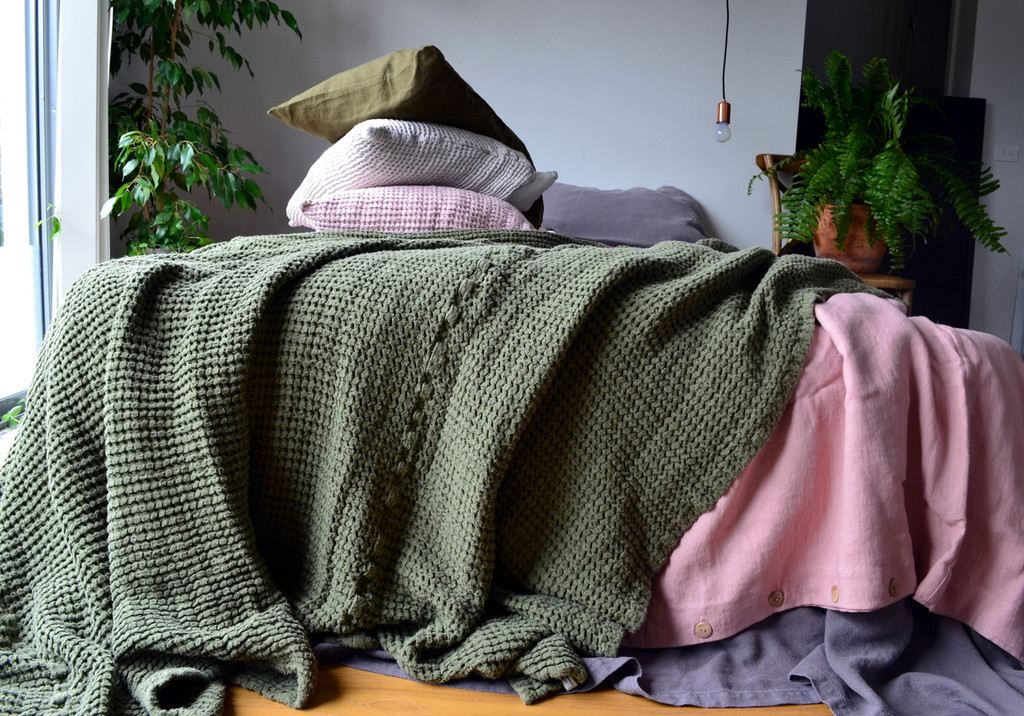 Waffle Linen Blanket, Olive Green. Extra Heavy natural linen