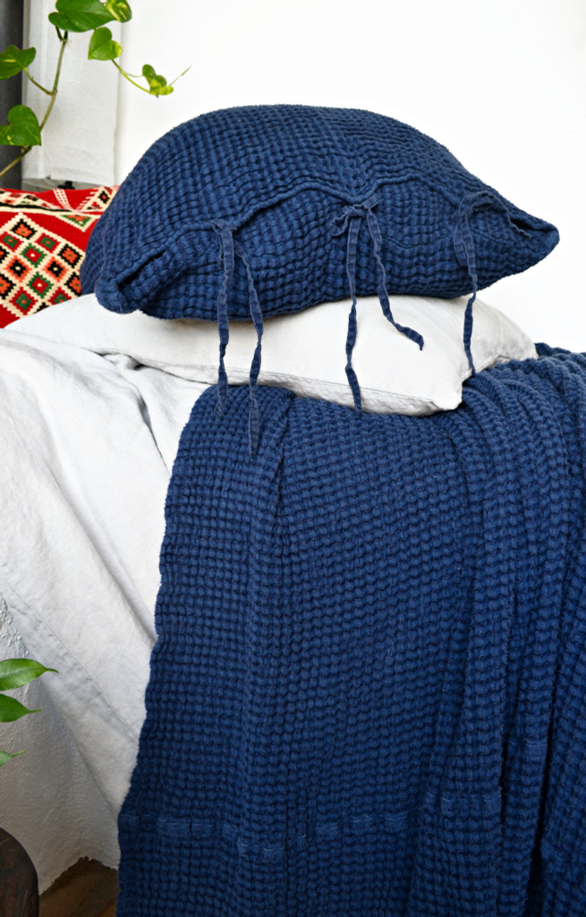 Indigo Blue Waffle Linen Pillow Case. Super heavy weight linen