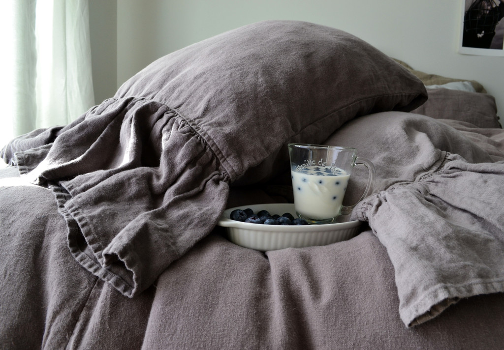 Blueberry Milk Heavy linen pillow case with ruffle