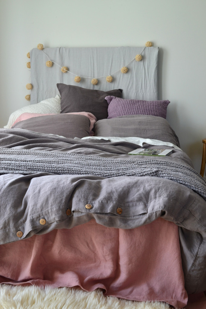 Fossil Grey Rustic Heavy Weight Linen Duvet/ Quilt Cover