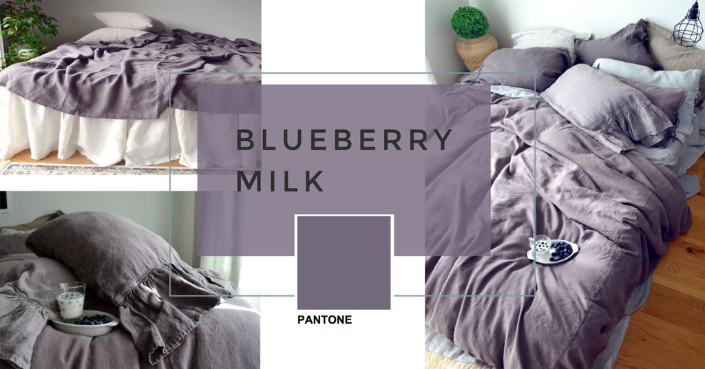 Blueberry Milk Rustic Heavy weight linen pillow case with ties