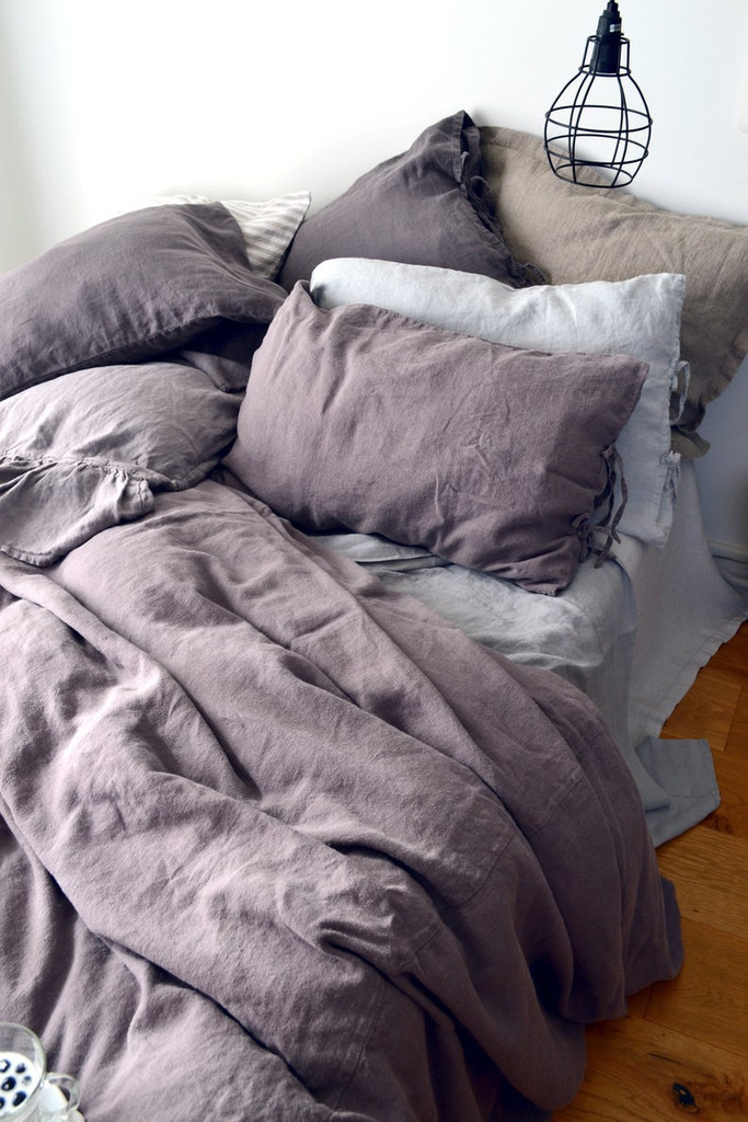 Blueberry Milk Rustic Heavy Weight Linen Duvet/ Quilt Cover