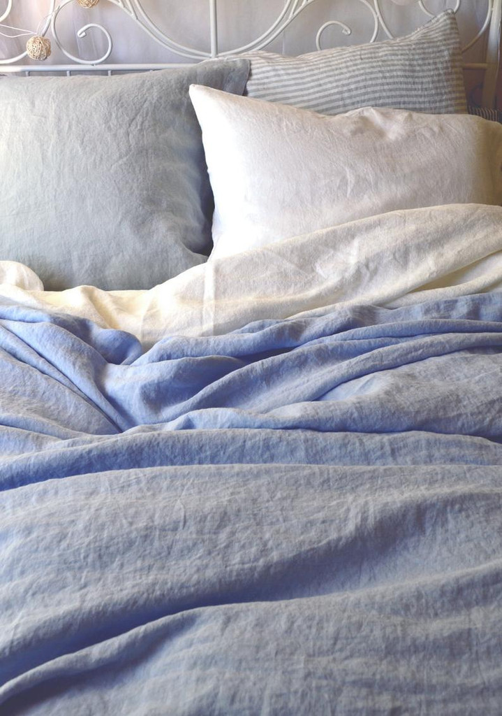 Sky Blue stonewashed linen duvet/quilt cover