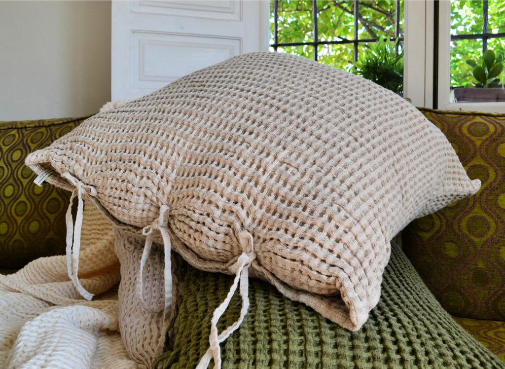 Natural Undyed Waffle Linen Pillow Case. Super heavy weight linen