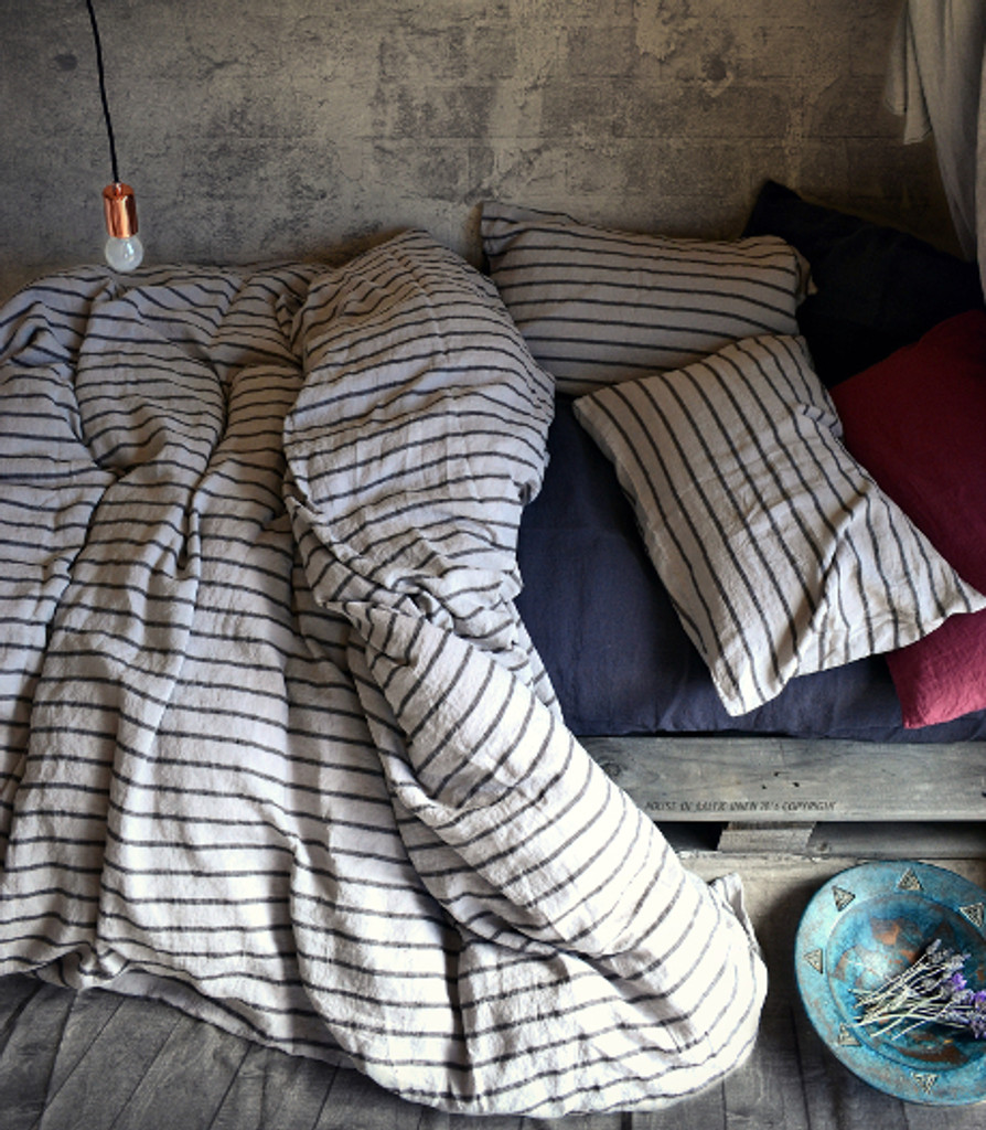 Vintage Black Ticking natural linen duvet/quilt cover