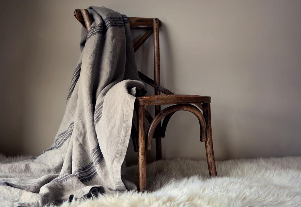 Grainsack Black Stripe Heavy Linen Coverlet⎮Bed cover, Black stripe