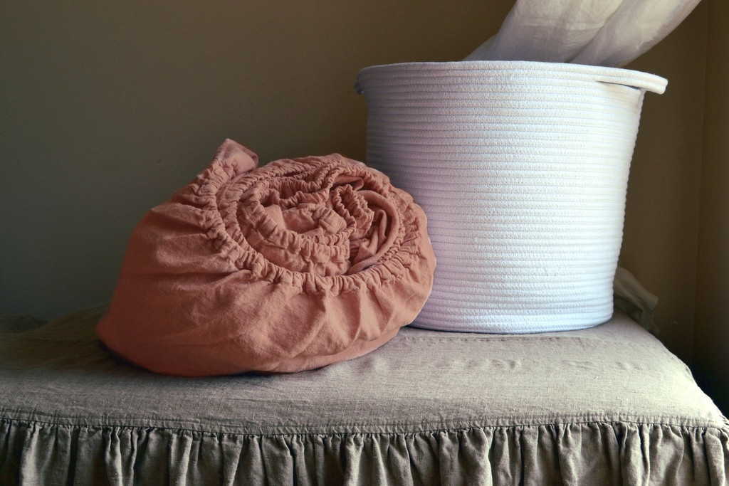 Ginger Spice Heavy weight Rustic linen fitted sheet