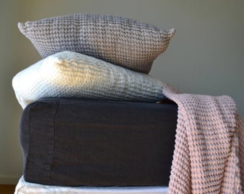 Peppercorn Dark Grey Heavy weight Rustic linen fitted sheet