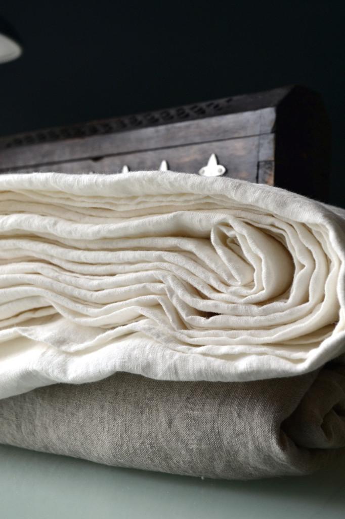 Pure White stonewashed linen Top/flat sheet